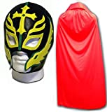 WRESTLING MASKS UK Men's Son Of The Devil Caribe Fancy Dress Mask With Cape One Size Red