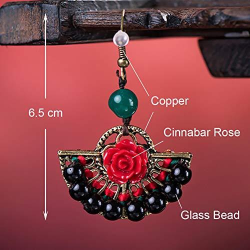 GEDASHU Earrings Ethnic Cinnabar Rose Glass Bead Copper Dangle Earrings Jewelry Elegant Drop Hook Earrings for Women Gift