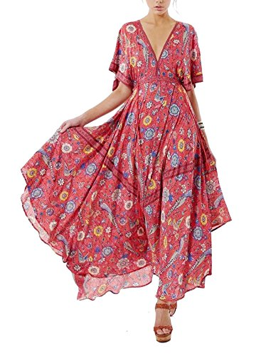 R.Vivimos Women Summer Print Deep V Neck Cotton Beach Long Dresses Red Large ()