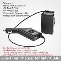 2in1 Car Charger Safe Fast Battery Controller Charger with USB Port for DJI MAVIC AIR Drone