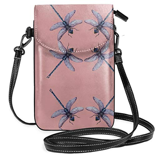 Iphone Hip Pop Multifunctional Dragonfly Insect Pink Holder - For 6 Inch Cell Phones with Detachable Shoulder Strap, Storage Organizer Wristlet Convertible Bag