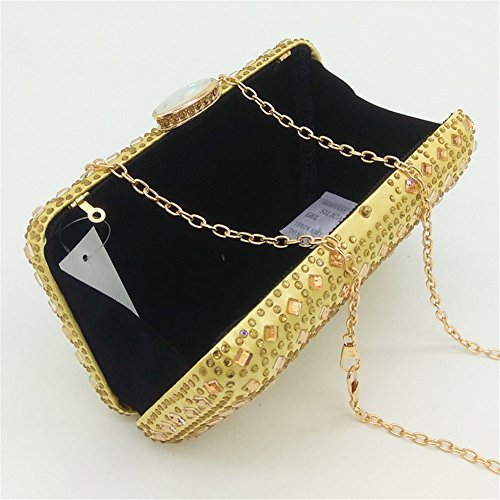 Dress Shoulder Ladies Gold Clutch Noble Wedding Evening Party Satin Diamond MSFS p6wzxqXz