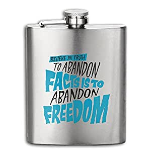 DeckerMO Abandon Freedom Pocket Hip Flask Outdoor Adventure Flagon For Gift, Mountaineering,Tourism,Camping ,household 6OZ 304 Stainless Steel