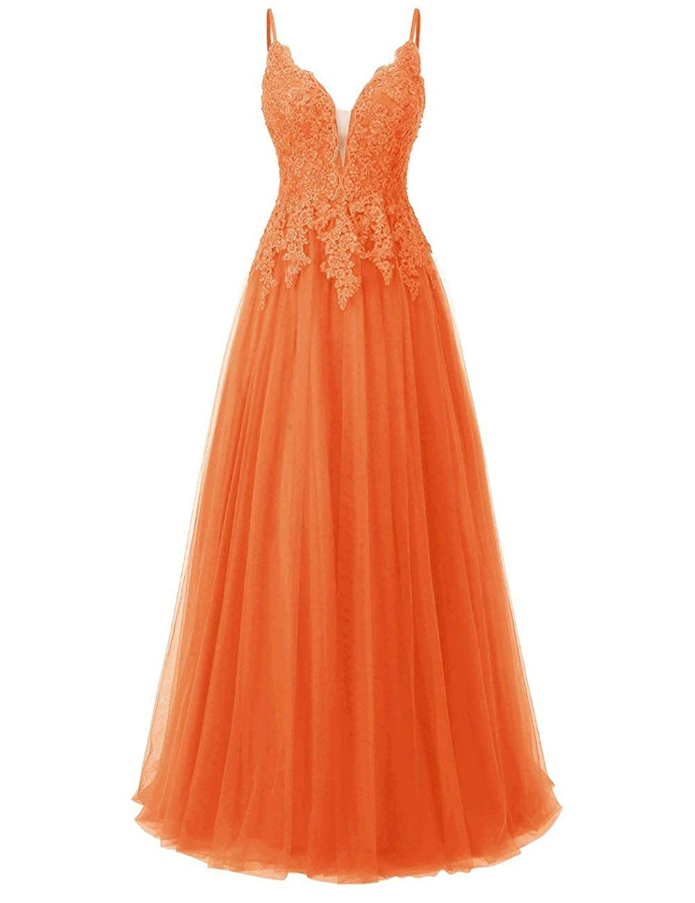 orange Elegant Long Bridesmaid Dresses with Lace Applique Beads Spaghetti Straps Tulle Prom Gowns
