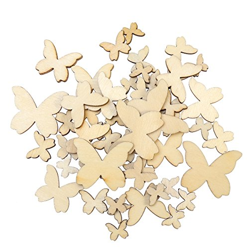 WINOMO 50pcs Mixed Size Wooden Butterfly Cutouts Craft Embellishment Gift Tag Wood Ornament for -