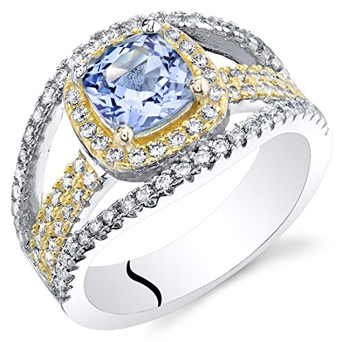 Simulated Tanzanite Sterling Silver Cushion Pave Ring