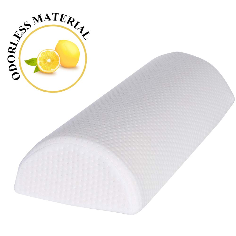 Bolster Pillow Under Knee Pillow Pain Relief Memory Foam Cushion with Removable/Washable Cotton Cover - Reduced Stress on Spine, Effective Support for Side and Back Sleepers, Neck, Legs, Knees & Waist