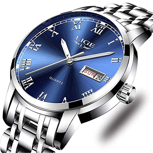 (LIGE Watches Mens Stainless Steel Waterproof Analog Quartz Watch Gents Business Automatic Wristwatch)