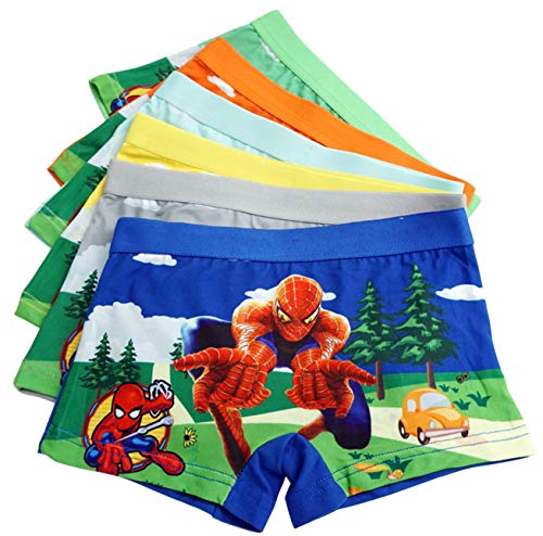 LEMONBABY Little Girls' Unicorn Assorted Boxer Briefs (Pack of 5) (5-7Y, Spider Man) -