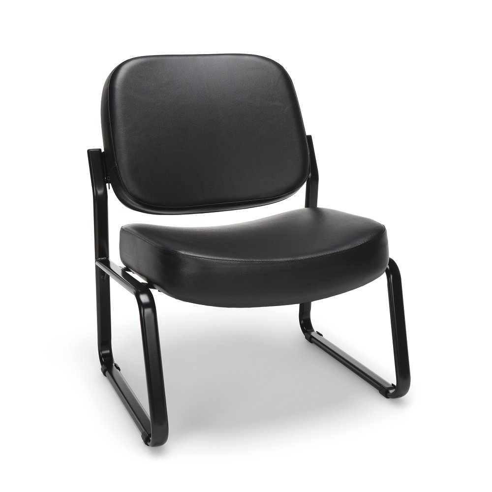 OFM Big and Tall Armless Reception Chair - Anti-Microbial/Anti-Bacterial Vinyl Mid-Back Guest Chair, Black (409-VAM)
