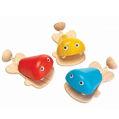 PlanToys Children's Wooden Percussion Musical Fish Castanet: Toys & Games