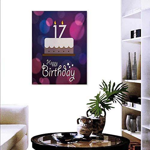 Mannwarehouse 17th Birthday Canvas Print Wall Art Seventeen Party Cake Abstract Style Circles Artistic Print Customize Wall Stickers 32