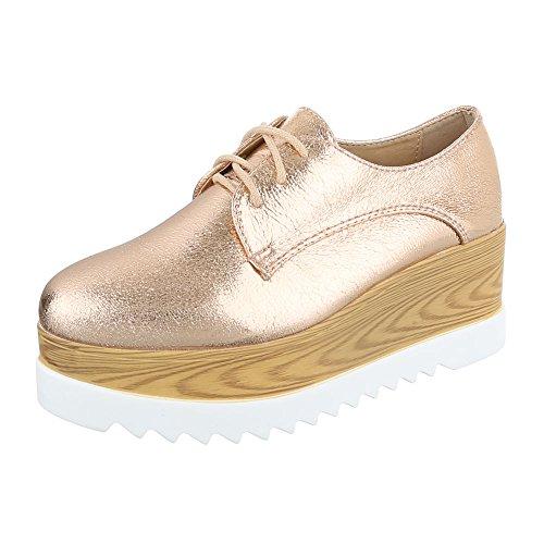 Ital-Design Women's Lace-Up Flats Rosa Gold lxMH55b