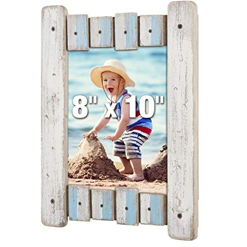 Excello Global Products Rustic Distressed Wood Frame: Holds an 8x10 Photo: Ready to Hang, Shabby Chic, Driftwood, Barnwood, Farmhouse, Reclaimed Wood Picture Frame (Blue & White)