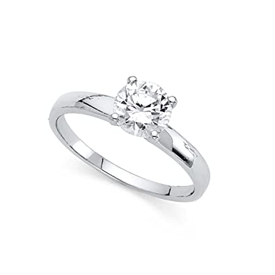 8a32b6fb14cb4 14k Yellow OR White Gold Solitaire CZ Engagement Ring Anniversary ...