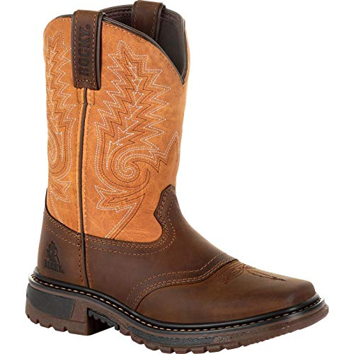 (Rocky Boys' Big Ride FLX Western Boot Square Toe Brown 7 D)
