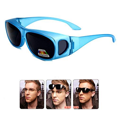 Wear Over sunglasses for men women Polarized lens,fit over Prescription Glasses UV400 (sky blue, as the - Sky Sunglasses