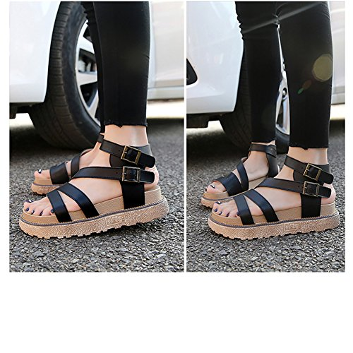 Bininbox Kvinna Läder Plattform Sandaler Sommar Spänne Gladiatorsandaler Svart