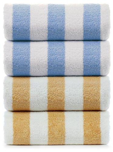 INDULGE Large Beach and Pool Towel, Cabana Stripe, 100% Turkish Cotton (30x60 inches, set of 4, Blue + Salmon)