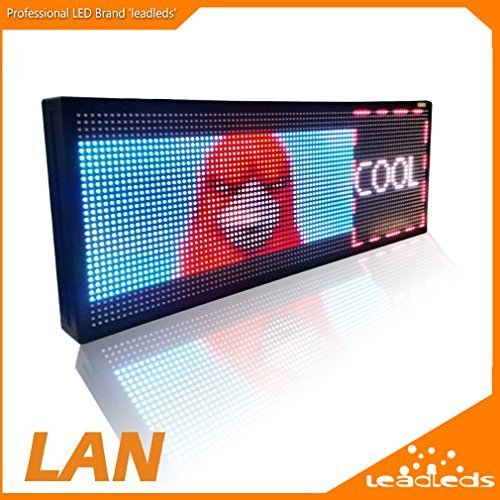 Leadleds 30'' x 11'' Full Color Video Display Screen Advertising LED Billboard, Support Video, Images, Text Fast Program By Ethernet Cable by Leadleds