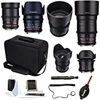 ROKINON CINE DS Full Lens Kit – 14mm + 24mm + 35mm + 50mm + 85mm + 135mm for Canon EF, + Case and Accessories
