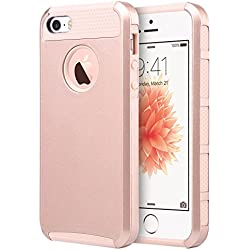 iPhone 5S Case,iPhone 5 Case,iPhone SE Case, UARMOR Slim Fit Protection Hybrid Case Shockproof Hard Rugged Protective Back Rubber Cover with Dual Layer Impact Protection (Rose Gold)