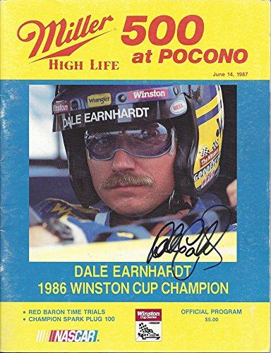 AUTOGRAPHED 1987 Dale Earnhardt Sr. #3 Wrangler Jeans Racing1986 WINSTON CUP CHAMPION (Miller High Life 500 at Pocono) Winston Cup 9X11 Inch Official NASCAR Vintage Race Program with COA
