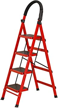 Escaleras Escalera plegable de acero de 4 pasos Escalera plegable de acero, escalera de tijera, escalera telescópica multiusos for la oficina de loft en el hogar, antideslizante, carga máxima de 150 k: