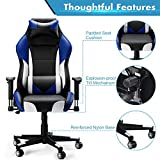 Cheap High-Back Computer Gaming Chair, SLYPNOSErgonomic Swivel Racing Style Bucket Seat Leather Office Chair with Detachable Neck Cushion Lumbar Support for Home Office, 300 Lbs. Weight limit, Blue