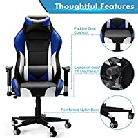 High-Back Computer Gaming Chair, SLYPNOS Ergonomic Swivel Racing Style Bucket Seat Leather Office Chair with Detachable Neck Cushion Lumbar Support for Home Office, 300 Lbs. Weight Limit, Blue