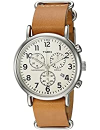 Timex Unisex Weekender Analog Chronograph TWC0635009J White Dial and Tan Leather Slip-Thru Strap