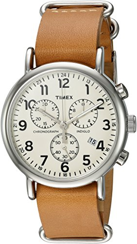 Mens Elegance Black Dial - Timex Weekender Chrono Analog-Quartz Watch with Leather Strap, Brown, 20 (Model: TWC063500)