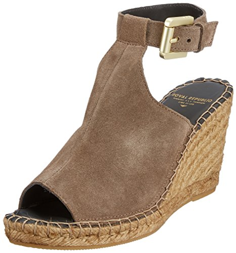 High Wedge Marron Femme Royal Suede Republiq Ouvert Taupe Taupe 10 Wayfarer Bout Sandales CEqwtvq