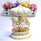 LIWUYOU Merry-Go-Round Music Box Carousel Horse Luxury Large Color Change LED Light Luminous Rotation With the Castle in the Sky Color Beige