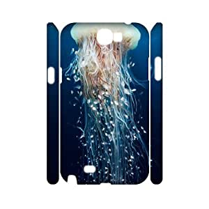 T-TGL(RQ) Customized Jellyfish Pattern Protective Cover Case for Samsung Galaxy Note 2 N7100 3D