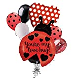 7 pc Love Bug Little Red Ladybug Balloon Bouquet Party Decoration Valentine Love
