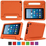 """eTopxizu Case for All-New Fire HD 8 2018/2017 - Kids Shockproof Convertible Handle Light Weight Protective Stand Cover Case for Fire HD 8"""" Display Tablet 2018/2017, Orange"""