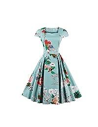 Allenqueen - Vestido de Fiesta con Manga Corta para Mujer, diseño Retro de Audrey de los años 50