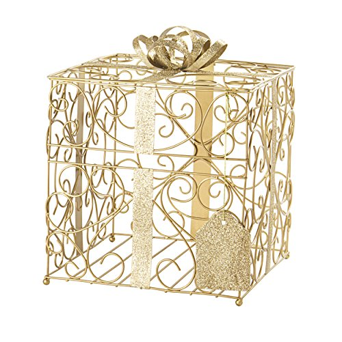 Cathy's Concepts Reception Gift Card Holder - Gold, Metal Construction, Glitter Accents, Perfect for Weddings, Graduations & More