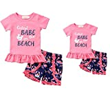Girls Letter Clothing Sets Short Sleeve Summer Holiday Rose Flower Outfits T-Shirt Tops Pants Sunsuit