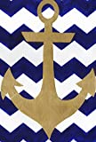 "Toland Poorhouse Garden 1010906 Chevron Anchor Decorative House Flag 28 by 40"" Blue Gold Nautical Pattern, For nothing"