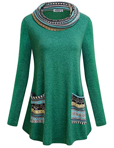 (MOQIVGI Bohemian Tops,Womens Mock Turtleneck Long Sleeve Sweater Shirts Form Fitting A Line Flowy Swing Misses Blouses Contemporary Designer Slouchy Home Lounge Ethnic Pullover Tunics Green Medium)
