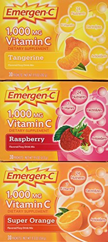 Alacer Flavored Vitamins - Emergen-c Vitamin C 1000mg 90 Packets 3 Variety Cartons NET Wt 29.1 ounce (828g)