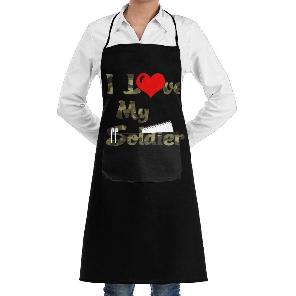 I Love My Soldier Cooking Kitchen Aprons With Pockets Bib Apron For Cooking, Baking, Crafting, Gardening, BBQ