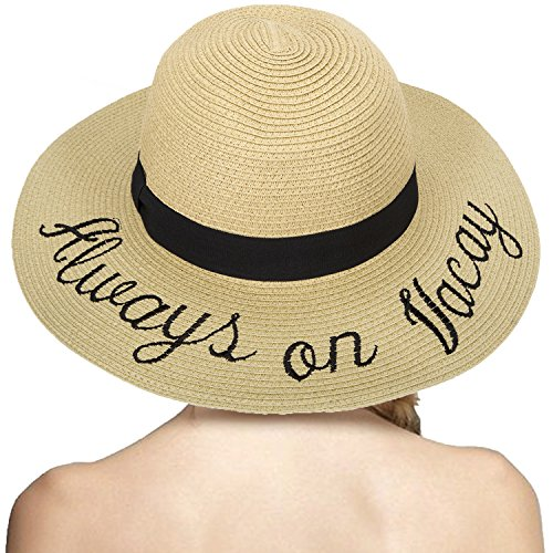 5d82ff035370f LONSANT Women s Paper Weaved Crushable Beach Embroidered Quote Adjustable Floppy  Brim Sun Hat (Always on