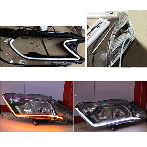 2pcs 60cm Switchback Headlight Flexible Tube LED Strip DRL Daytime Light for Audi-style Tube