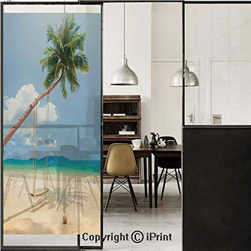 (Ocean 3D Decorative Film Privacy Window Film No Glue,Frosted Film Decorative,Photo of a Tropical Island with Coconuts Palm Trees and a Swing Beach Home Decor Decorative,for Home&Office,17.7x59Inch Cre)