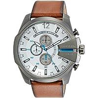 Diesel Men's DZ4280 Mega Chief Gunmetal Brown Leather Watch