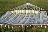 Premium Large Heavy Duty Outdoor 2 Person Quilted Hammock with Pillow - Striped