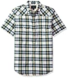 Lucky Brand Men's Short Sleeve Plaid Western Button Down Shirt in Green Multi, Natural/Green, XL